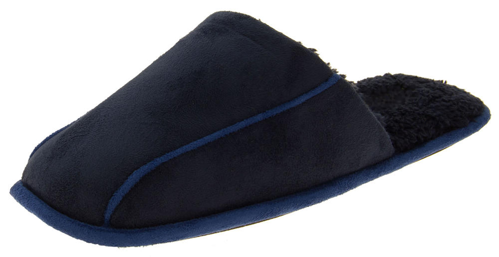 Mens Coolers Faux Suede Open Back Padded Mule Slippers