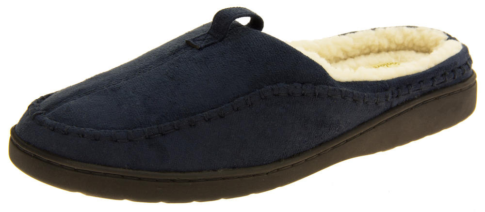 Mens Coolers Faux Suede Wool Effect Padded Mule Slippers