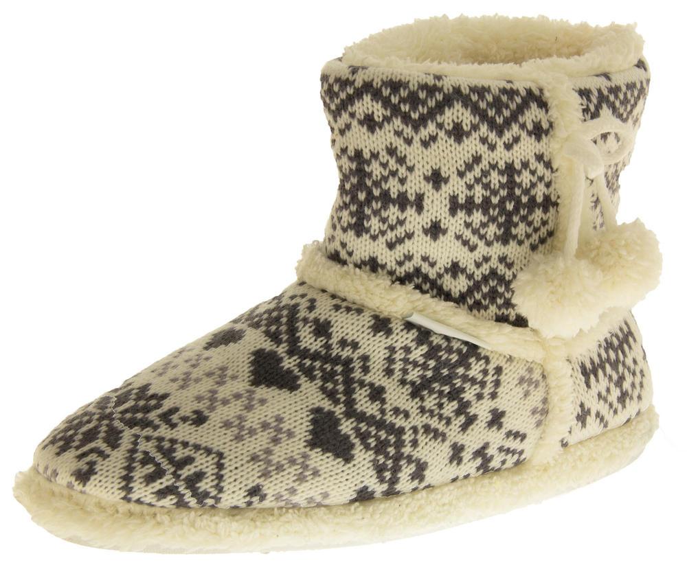 Ladies De Fonseca Fairlisle Knitted Slipper Boots Womens Mens