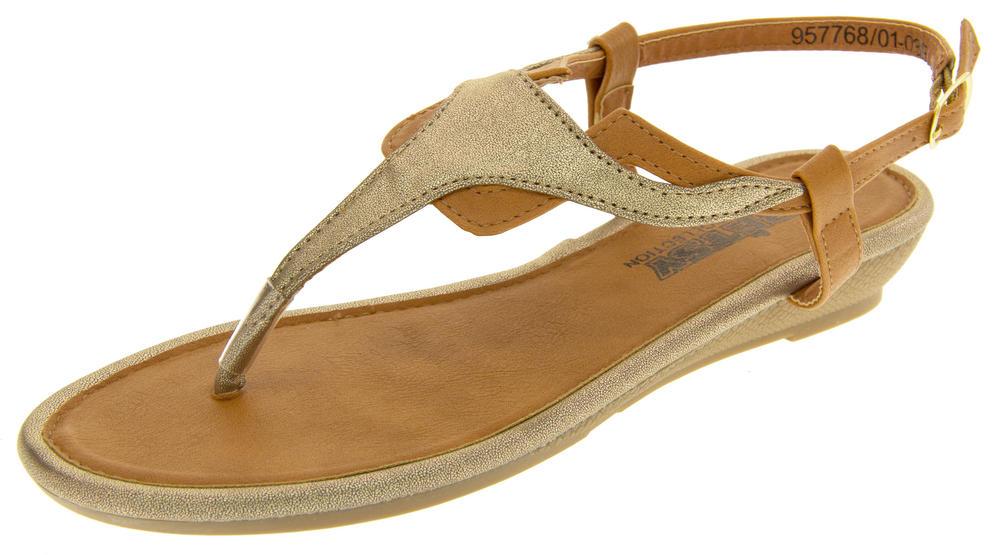 Womens Toe Post Wedge Sandals