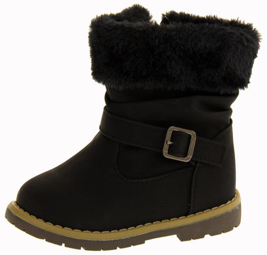 Girls Kiddiflex Faux Leather Buckle Winter Boots with Faux Fur Opening