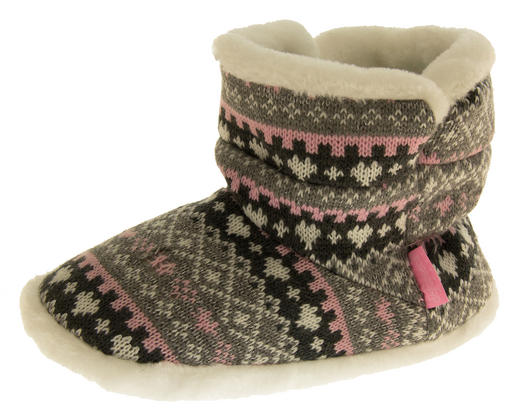 Girls Knitted Herringbone and Heart Slipper Boots