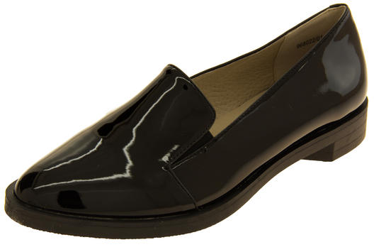 Ladies Betsy Elegant Flat Faux Leather Patent Loafers Shoes