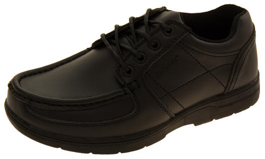 Junior Boys GOLA Black Coated Leather School Trainers Shoes