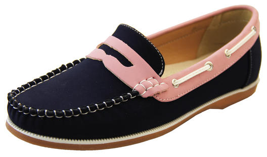 Womens Faux Leather Loafers SHORESIDE Deck Shoes