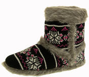 Ladies Coolers Knitted FairIsle Faux Fur Lined Slipper Boots Thumbnail 1