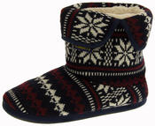 Mens Coolers Fairisle Knitted Warm Lined Boot Slippers Thumbnail 1