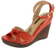 Ladies Elisabeth Distressed Cork Effect Faux Leather Wedge Sandals