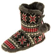 Ladies Coolers Knitted Faux Fur Slipper Womens Slouch Boots Thumbnail 1