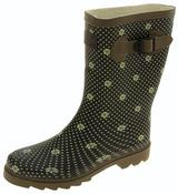 Womens Floral Calf Length Rubber Festival Wellington Boots Thumbnail 1