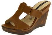 Ladies Elisabeth Peep Toe Wedge Leather Look Sandals Thumbnail 4