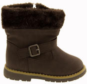 Girls Kiddiflex Faux Leather Buckle Winter Boots with Faux Fur Opening Thumbnail 8