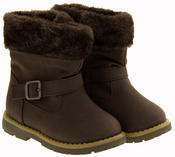 Girls Kiddiflex Faux Leather Buckle Winter Boots with Faux Fur Opening Thumbnail 10