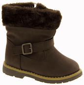 Girls Kiddiflex Faux Leather Buckle Winter Boots with Faux Fur Opening Thumbnail 7