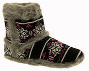 Ladies Coolers Knitted FairIsle Faux Fur Lined Slipper Boots Thumbnail 2