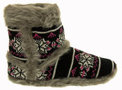 Ladies Coolers Knitted FairIsle Faux Fur Lined Slipper Boots Thumbnail 3