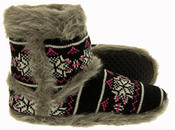 Ladies Coolers Knitted FairIsle Faux Fur Lined Slipper Boots Thumbnail 4
