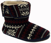 Mens Coolers Fairisle Knitted Warm Lined Boot Slippers Thumbnail 2
