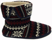 Mens Coolers Fairisle Knitted Warm Lined Boot Slippers Thumbnail 3