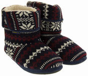 Mens Coolers Fairisle Knitted Warm Lined Boot Slippers Thumbnail 5