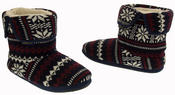 Mens Coolers Fairisle Knitted Warm Lined Boot Slippers Thumbnail 6