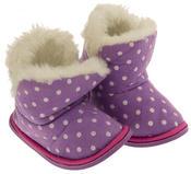 Girls Purple Polka Dot Faux Fur Lined Slipper Booties Flexible Sole Thumbnail 5