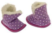 Girls Purple Polka Dot Faux Fur Lined Slipper Booties Flexible Sole Thumbnail 6