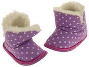 Girls Purple Polka Dot Faux Fur Lined Slipper Booties Flexible Sole Thumbnail 7