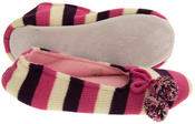 Ladies Coolers Kumfipumps Stripey Knitted Ballerina Slippers Thumbnail 4