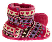 Girls Knitted Herringbone and Heart Slipper Boots Thumbnail 9