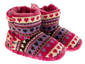Girls Knitted Herringbone and Heart Slipper Boots Thumbnail 10