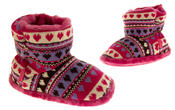 Girls Knitted Herringbone and Heart Slipper Boots Thumbnail 11