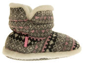 Girls Knitted Herringbone and Heart Slipper Boots Thumbnail 3