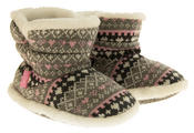 Girls Knitted Herringbone and Heart Slipper Boots Thumbnail 5