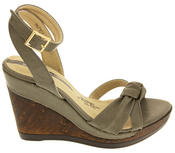 Ladies Elisabeth Distressed Cork Effect Faux Leather Wedge Sandals Thumbnail 6