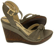 Ladies Elisabeth Distressed Cork Effect Faux Leather Wedge Sandals Thumbnail 7