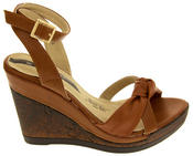 Ladies Elisabeth Distressed Cork Effect Faux Leather Wedge Sandals Thumbnail 9