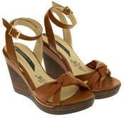 Ladies Elisabeth Distressed Cork Effect Faux Leather Wedge Sandals Thumbnail 11