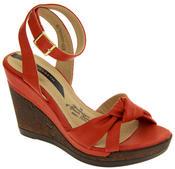 Ladies Elisabeth Distressed Cork Effect Faux Leather Wedge Sandals Thumbnail 2