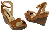 Ladies Elisabeth Distressed Cork Effect Faux Leather Wedge Sandals Thumbnail 12
