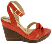 Ladies Elisabeth Distressed Cork Effect Faux Leather Wedge Sandals Thumbnail 3