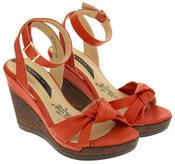 Ladies Elisabeth Distressed Cork Effect Faux Leather Wedge Sandals Thumbnail 4