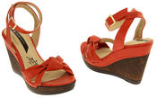 Ladies Elisabeth Distressed Cork Effect Faux Leather Wedge Sandals Thumbnail 5