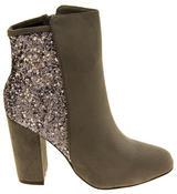 Ladies Divine Faux Suede Glitter Ankle Boots Thumbnail 7
