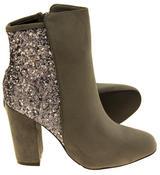Ladies Divine Faux Suede Glitter Ankle Boots Thumbnail 8