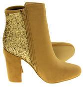 Ladies Divine Faux Suede Glitter Ankle Boots Thumbnail 11