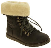 Ladies Keddo Grey Faux Leather Ankle Boots Faux Fur Lined Boots Thumbnail 2