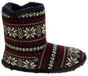 Mens Coolers Fairisle Faux Fur Lined Snowflake Boot Slippers Thumbnail 6