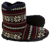 Mens Coolers Fairisle Faux Fur Lined Snowflake Boot Slippers Thumbnail 7