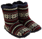Mens Coolers Fairisle Faux Fur Lined Snowflake Boot Slippers Thumbnail 8